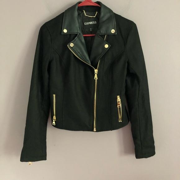 Express Jackets & Blazers - Express Black Recycled Wool Cropped Moto Jacket XS